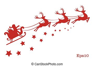 Vector illustration of a red reindeer isolated on white background