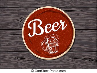 Vector illustration of a red round beer coaster on a rough oak wooden table.