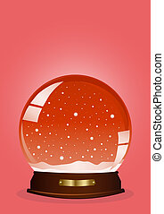 red snow globe - Vector illustration of a red snow globe...