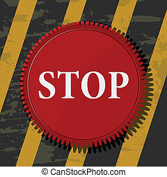 Vector illustration of a red stop button