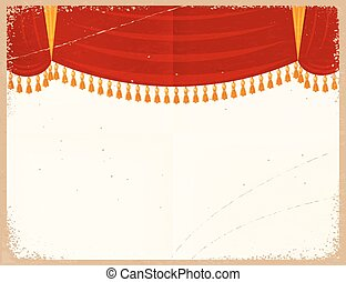 Vector illustration of a red theater curtain on a retro background. Vintage card with a grunge