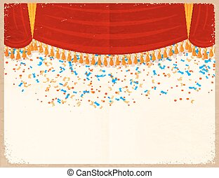 Vector illustration of a red theater curtain with confetti on a retro background. Vintage card