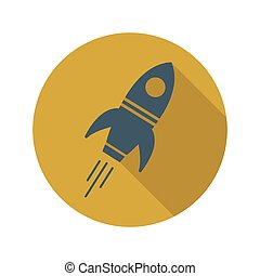 Vector illustration of a rocket in a circle with a shadow.