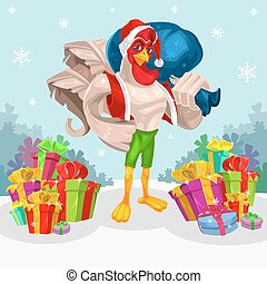 Vector illustration of a rooster - Santa Claus