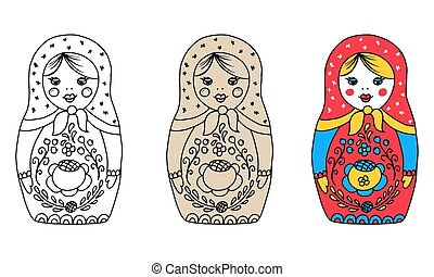 Vector illustration of a Russian traditional nesting doll