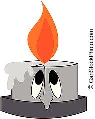 Vector illustration of a sad burning grey candle on white background.