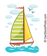Vector illustration of a sailboat on the sea.