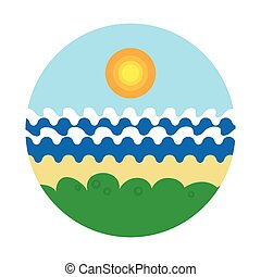 Vector illustration of a sandy beach with grass and trees on the sea shore with waves under blue sky with sun