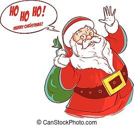 vector illustration of a Santa Claus Cartoon Character