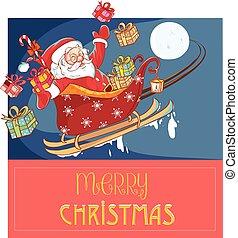 vector illustration of a Santa Claus in a sleigh