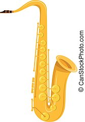 Vector illustration of a saxophone in cartoon style isolated on white background