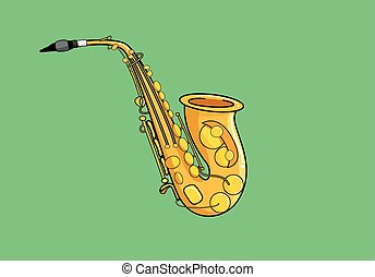 vector illustration of a saxophone instrument on green background. eps 10