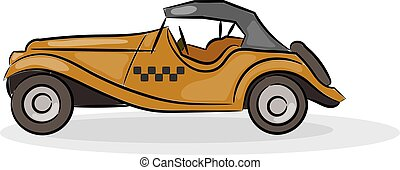Vector illustration of a schematic drawing of abstract retro car