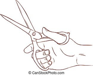 vector illustration of a scissors in hand