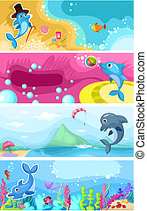 vector illustration of a sea life background