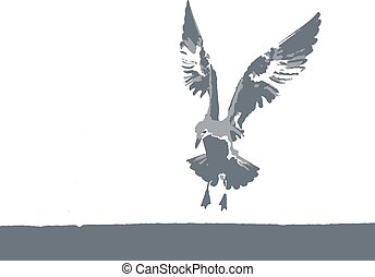 vector illustration of a seagull in nature