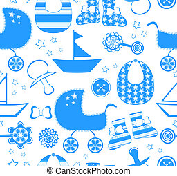 vector illustration of a seamless background with a newborn boy collection