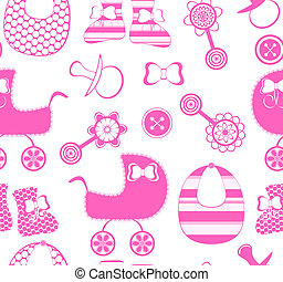 vector illustration of a seamless background with a newborn girl  collection