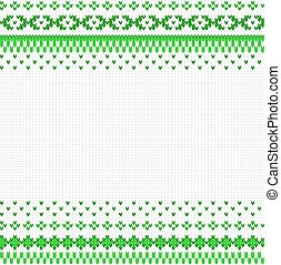 seamless green and white knitted background