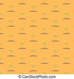 Vector illustration of a seamless image of a seamless pattern of green palms on a brown island with the sun on an orange background