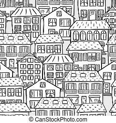 seamless pattern of scribbled houses