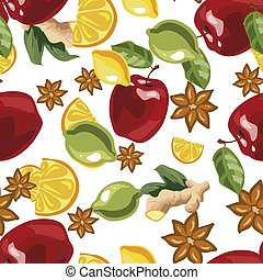 Vector illustration of a seamless pattern with spices and ingredients for mulled wine.