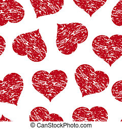 Vector illustration of a seamless pattern with the red grunge hearts