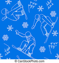 seamless snowboarder pattern