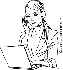 Vector illustration of a secretary with headphones and...