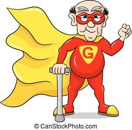 senior super hero with cape - vector illustration of a...