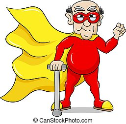 senior super hero with cape