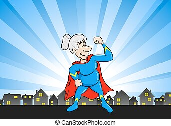 senior super heroine with cape