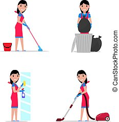 Vector illustration of a set cartoon girl cleaning
