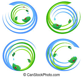 Vector illustration of a set  of an environmental design elements.
