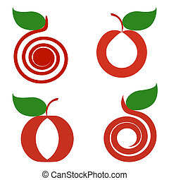 vector illustration of a set of apples isolated on white background. can be used as logo