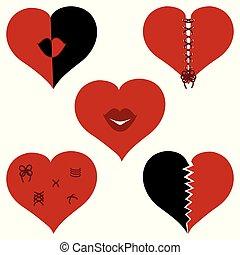 Vector illustration of a set of broken hearts