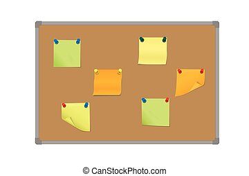 Vector illustration of a set of colored sticky papers pinned with colored pin on a board