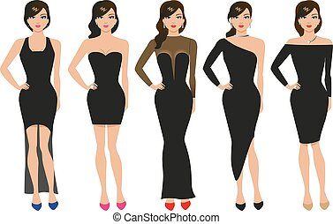 Vector illustration of a set of evening dresses. The girl in...
