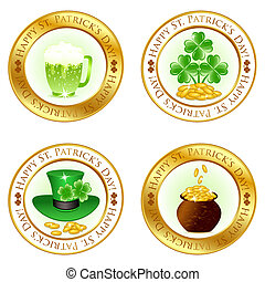 Vector illustration of a set of four glossy icons for patrick day celebration