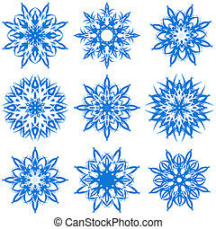 vector illustration of a set of snowflakes