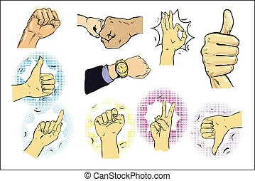 Vector illustration of a set of male hand gestures. Pointing finger, like or thumb up, ok sign. Hand drawn vintage comic style illustration