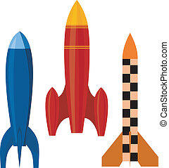 Vector illustration of a set of rockets. EPS10