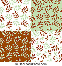 vector illustration of a set of seamless backgrounds made with leaves
