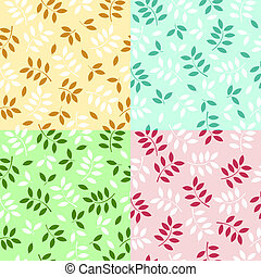 vector illustration of a set of seamless leaves backgrounds