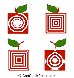 vector illustration of a set of square apples isolated on white background.