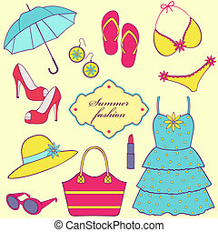 Vector illustration of a set of summer women's clothing