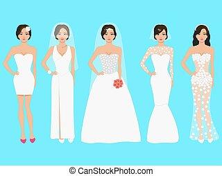 Vector illustration of a set of wedding dresses