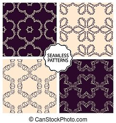 Vector illustration of a set seamless patterns