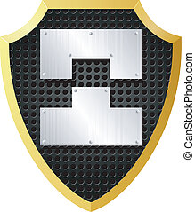 Vector illustration of a shield with metal pieces
