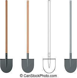 Vector  illustration of a shovel